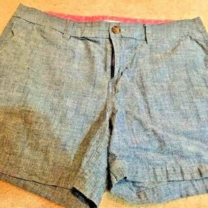 MERONA Blue Chambray Denim Vacation LINEN Shorts 8